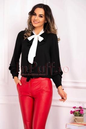 Bluza eleganta neagra din voal cu volane