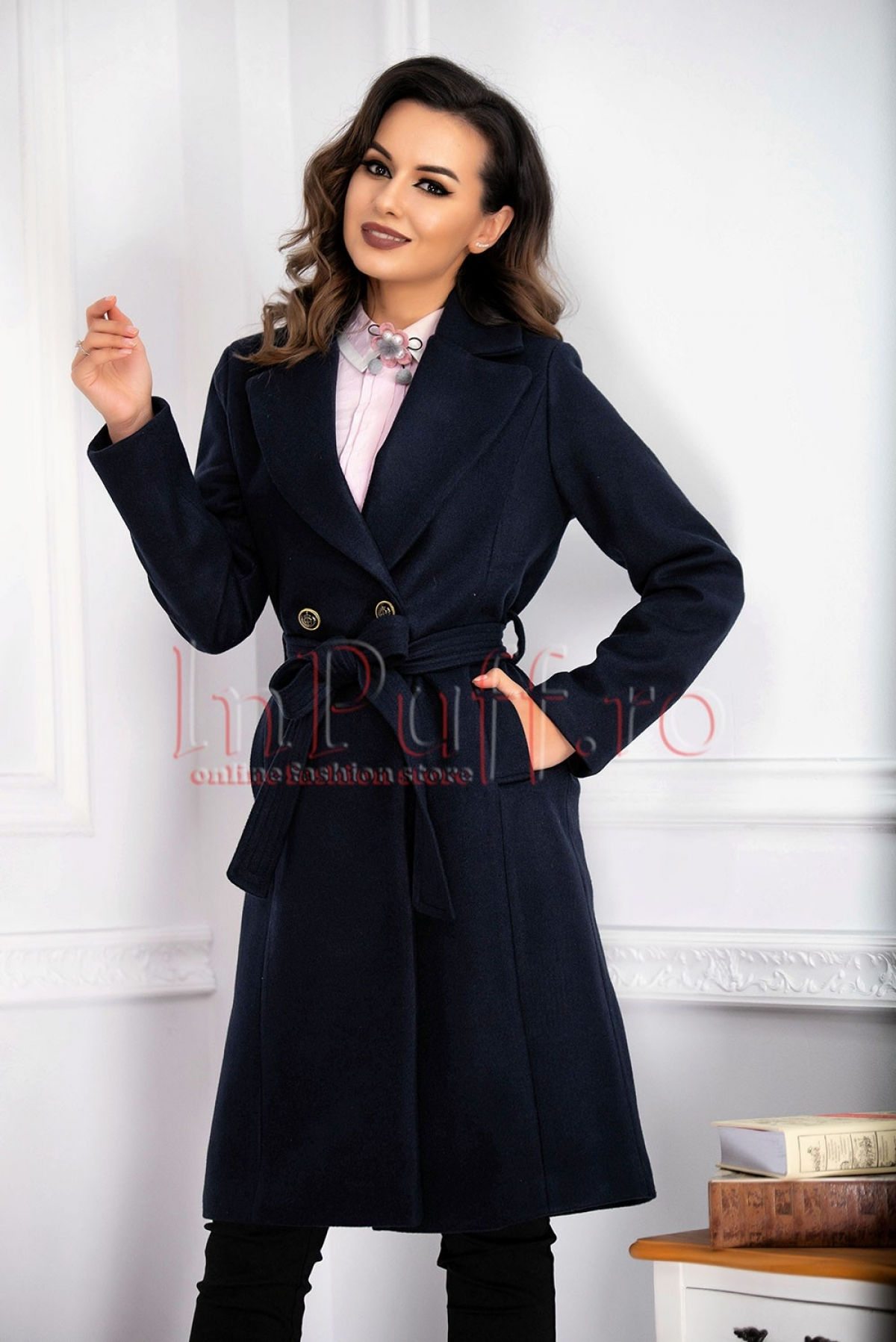 Palton dama lung gros bleumarin