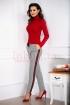 Pantaloni gri office Pretty Girl cu talie inalta si carouri