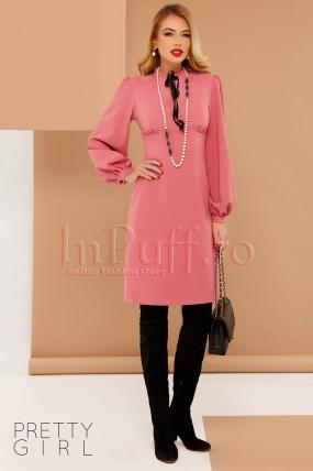 Rochie roz dreapta , eleganta Pretty Girl din stofa cu maneca bufanta