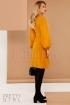 Rochie galben-mustar eleganta Pretty Girl din stofa cu maneca bufanta