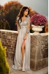 Rochie eleganta lunga Atmosphere cu dantela de culoare gri