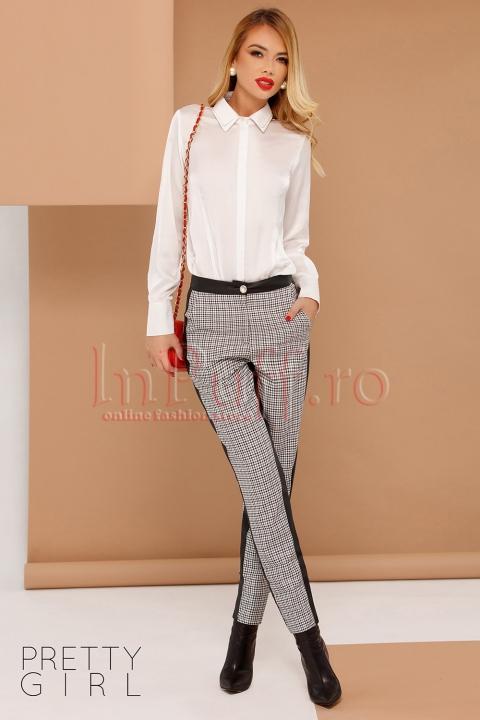 Pantaloni Pretty Girl din stofa in carouri cu benzi negre decorative