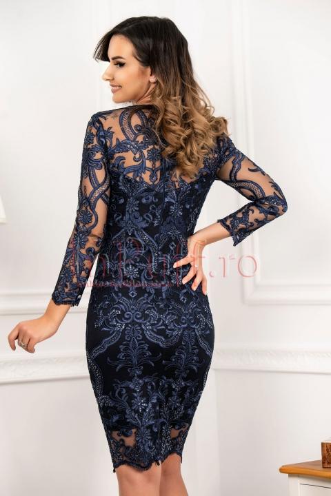 Rochie bleumarin MBG de seara eleganta cu paiete
