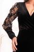 Rochie Fofy de seara din catifea neagra cu maneca brodata