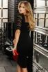 Rochie de seara neagra conica Fofy din stofa cu maneca din dantela