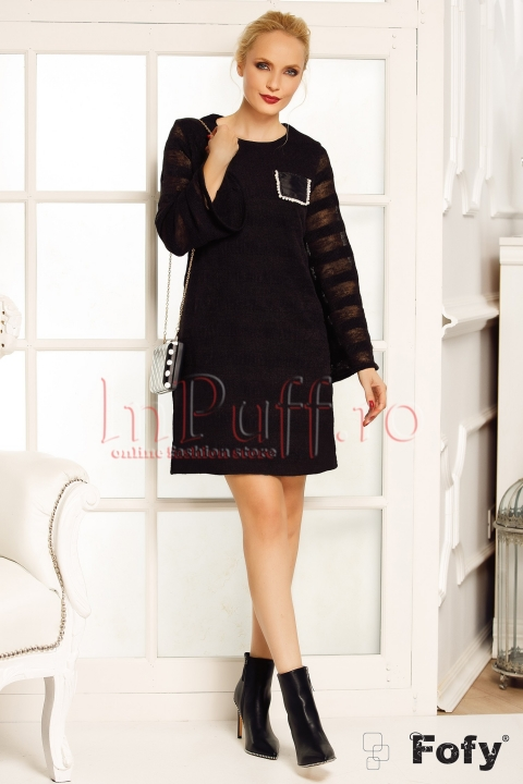 Rochie pulover neagra Fofy din tricot
