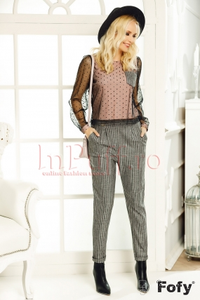 Pantaloni Fofy conici office din stofa cu dungi roz