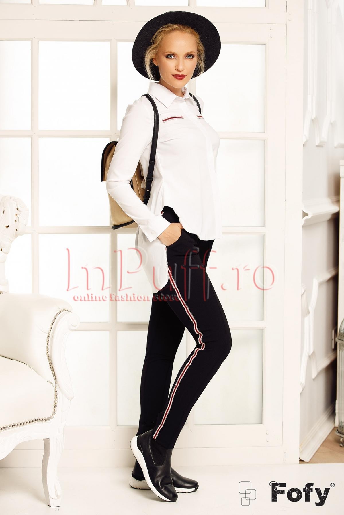 Pantaloni office conici Fofy de culoare neagra cu benzi laterale rosii