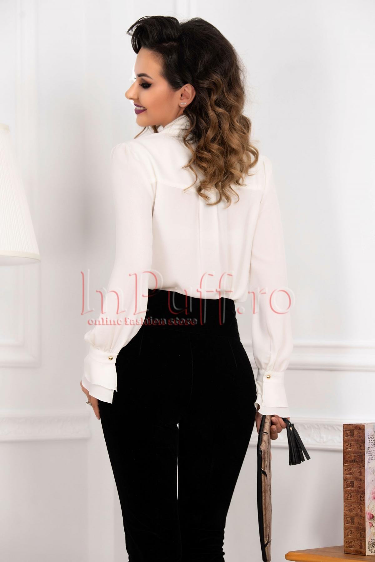 Pantaloni MBG conici cu talia inalta din catifea de culoare neagra
