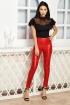 Pantaloni Atmosphere conici cu talia inalta din piele ecologica de culoare rosie