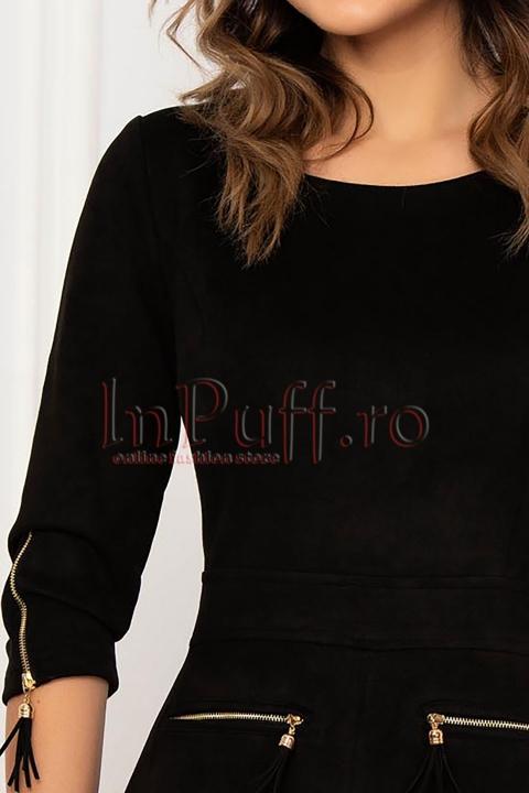 Rochie conica Fofy neagra catifelata