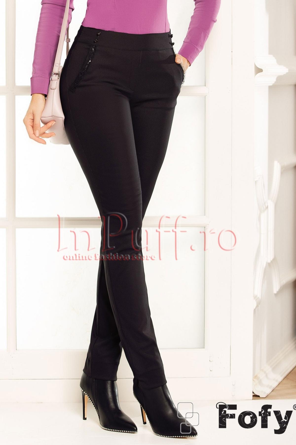 Pantaloni conici Fofy negri cu paiete accesorizate la buzunare