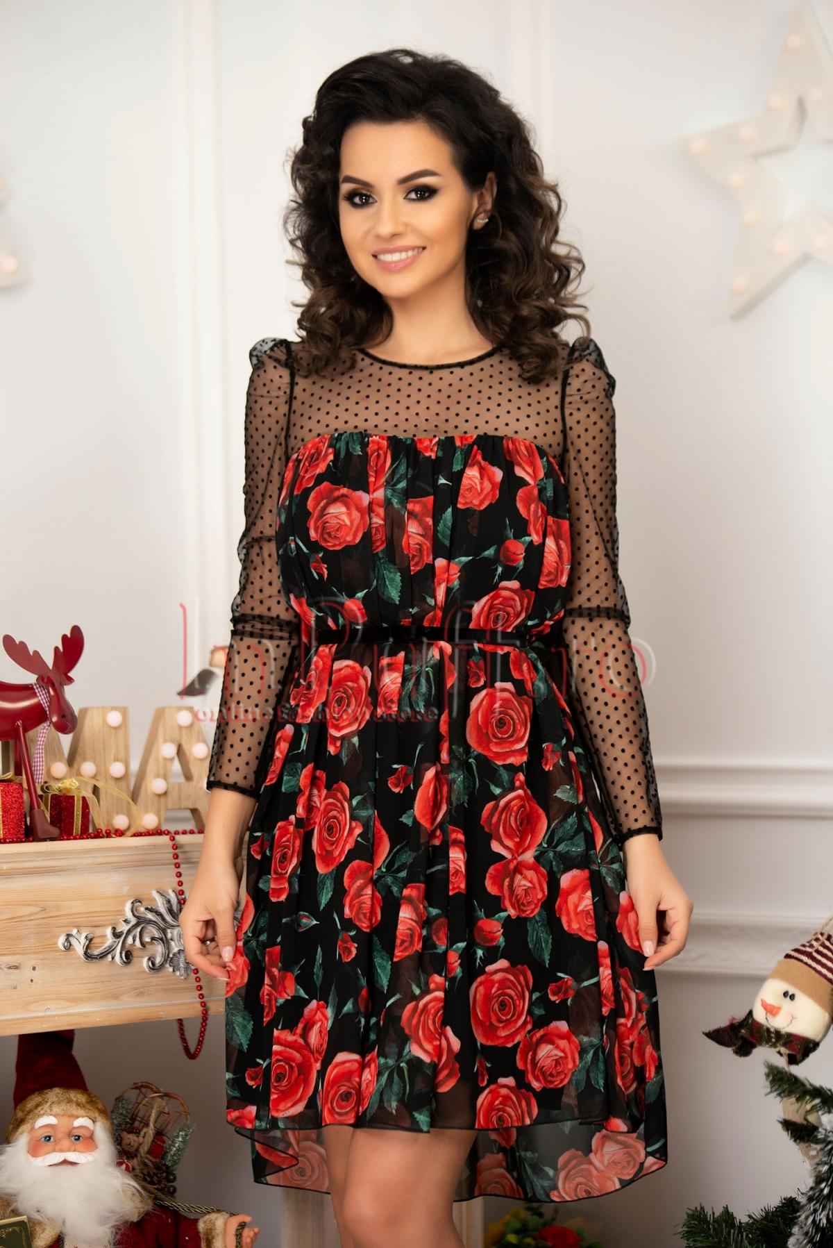 Rochie de seara din voal cu imprimeu floral si tull