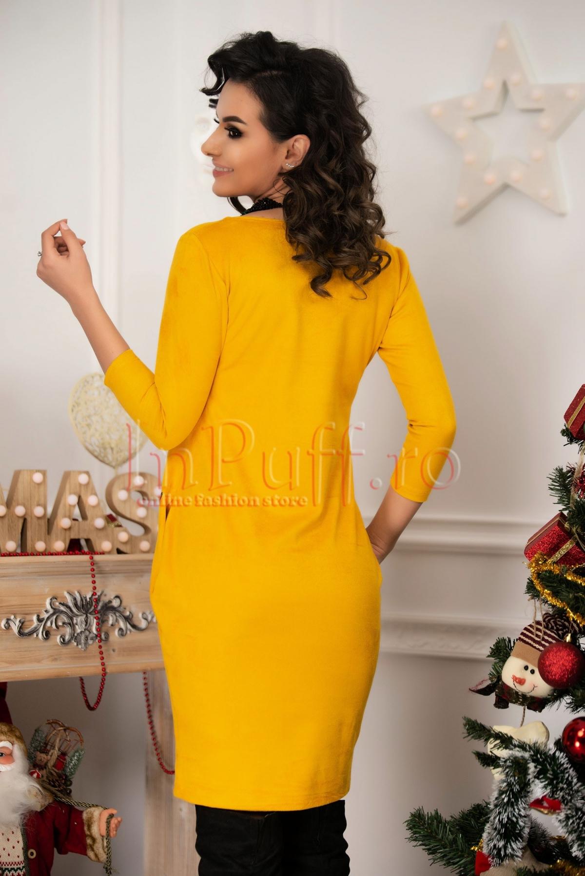 Rochie eleganta galben-mustar din piele intoarsa