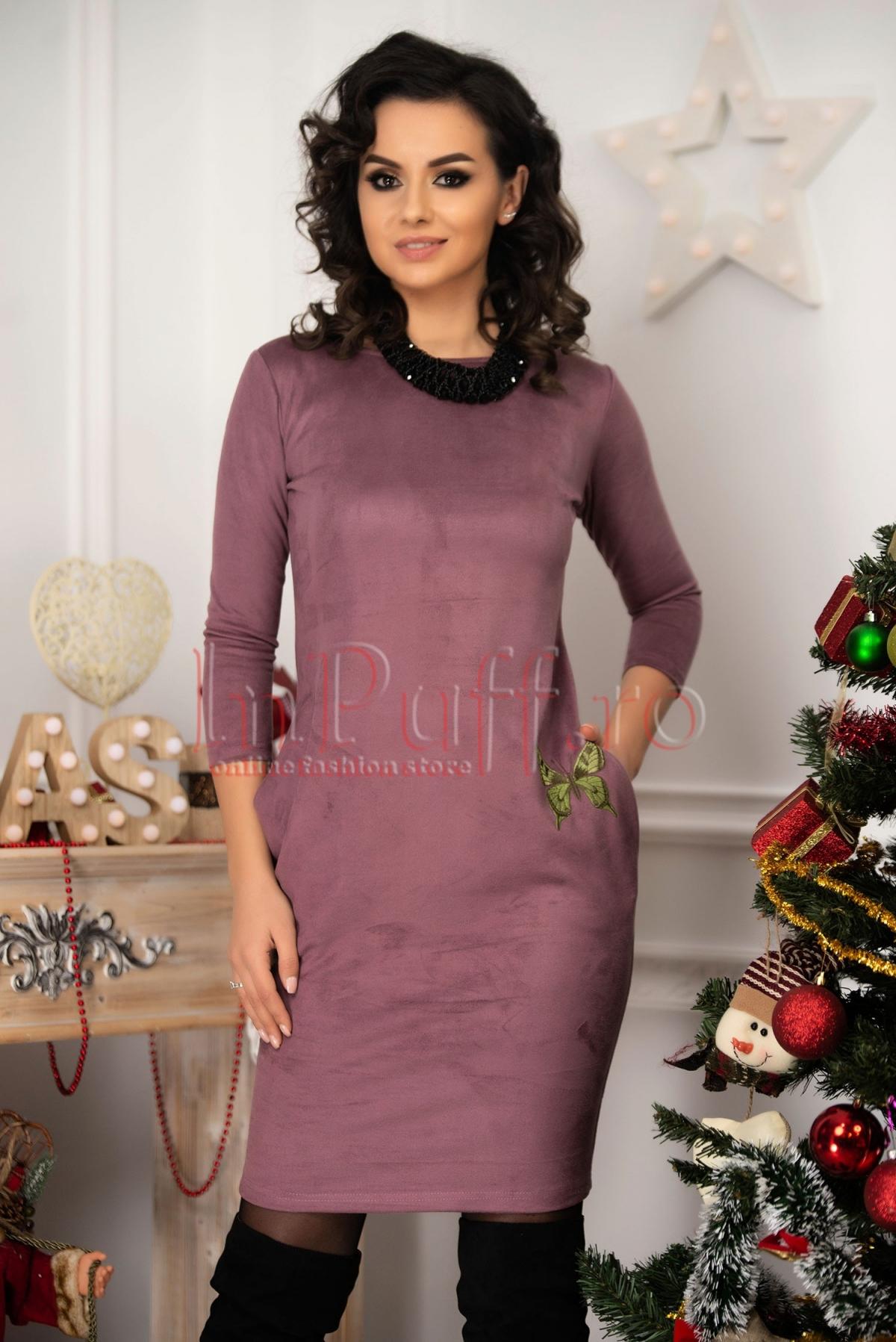Rochie eleganta lila din piele intoarsa