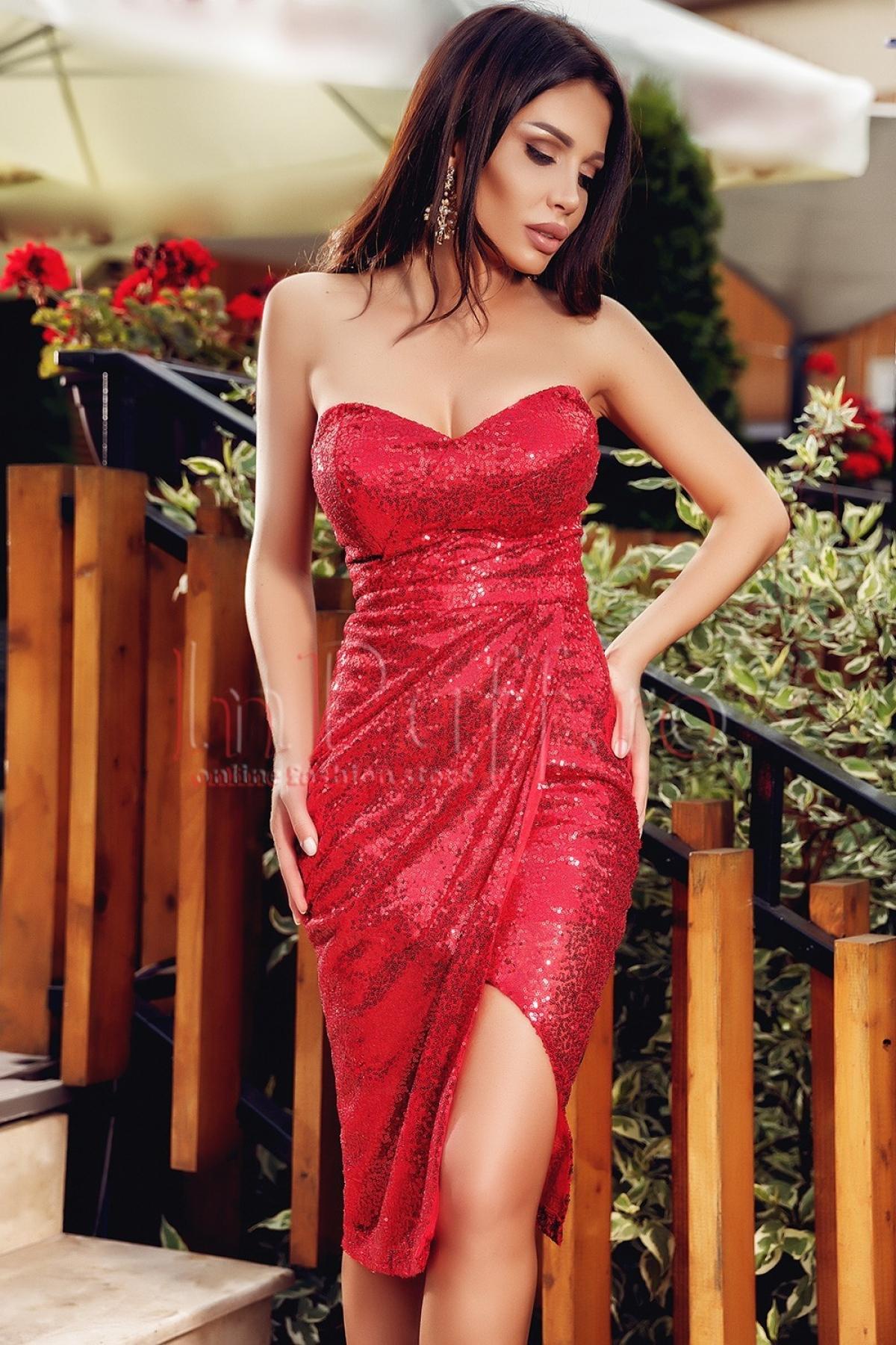 Rochie de seara conica Atmosphere cu paiete rosii