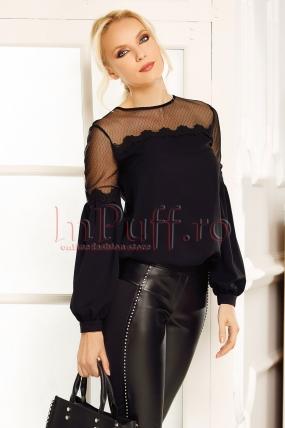 Bluza neagra eleganta Fofy din voal cu broderie si tull