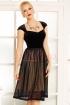 Rochie eleganta neagra Fofy din catifea cu tull plisat