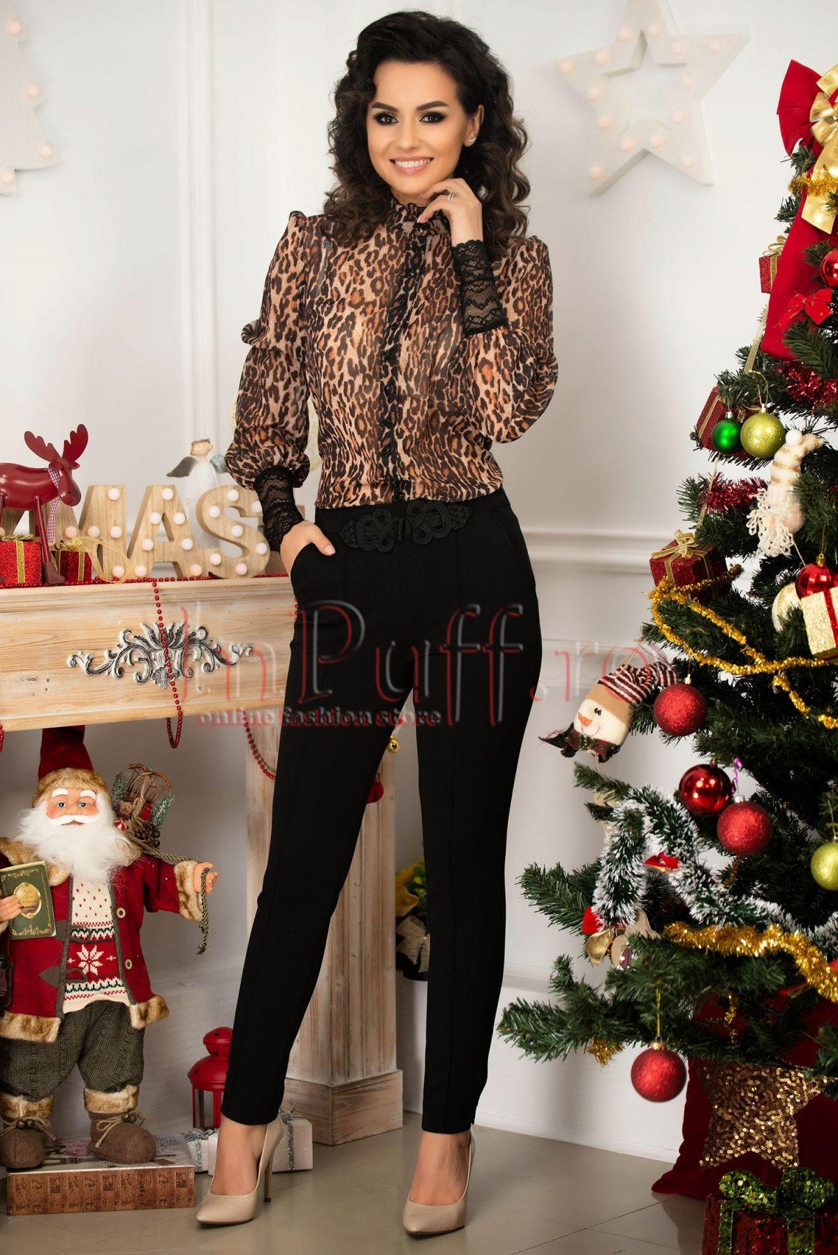 Pantaloni negri conici Fofy eleganti din stofa