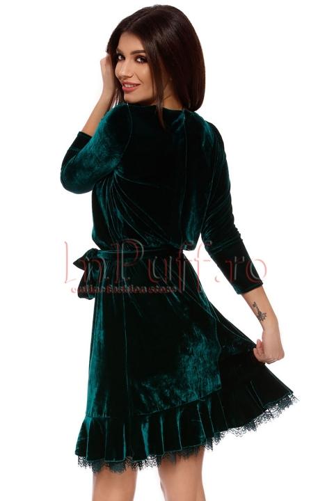 Rochie midi eleganta verde din catifea