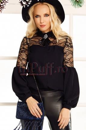 Bluza neagra eleganta Fofy din voal cu dantela si tull