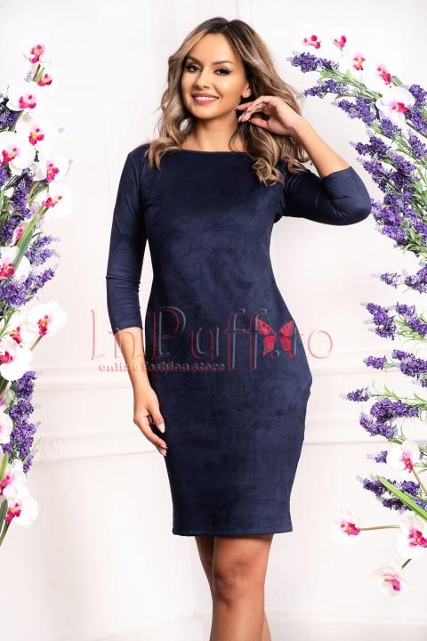 Rochie catifelata de zi bleumarin cu fluture brodat