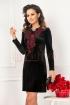 Rochie eleganta neagra din catifea cu jabou din dantela bordo