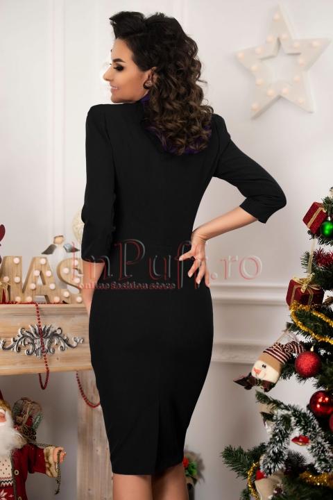 Rochie MBG eleganta din stofa neagra asimetrica