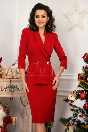 Rochie MBG eleganta din stofa rosie asimetrica
