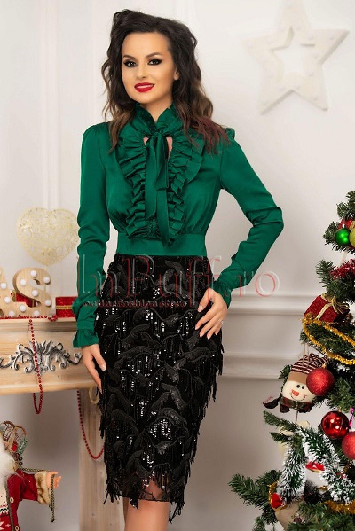 Rochie de seara conica din voal verde si paiete negre