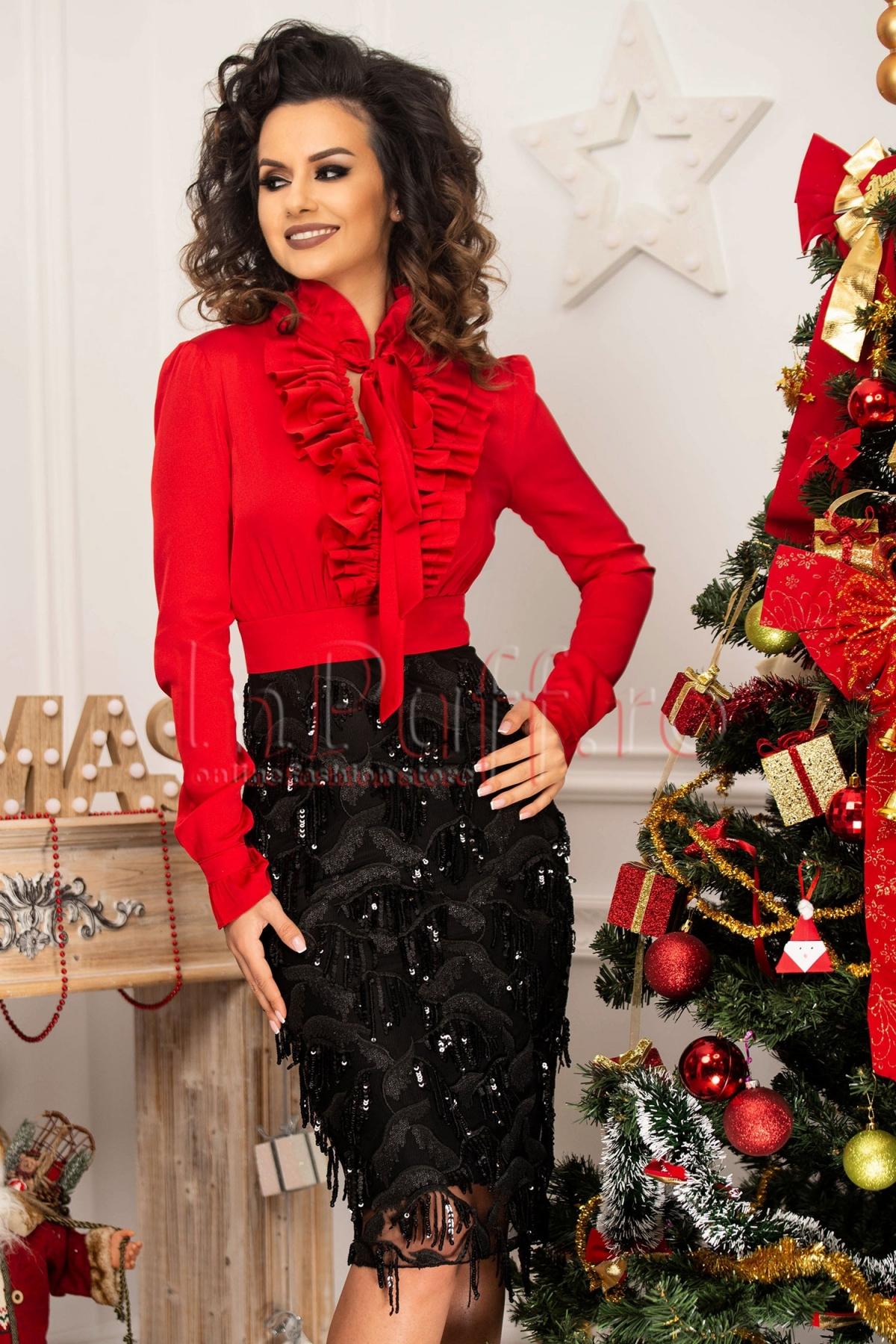 Rochie de seara conica din voal rosu si paiete negre