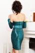 Rochie scurta verde turquoise din paiete