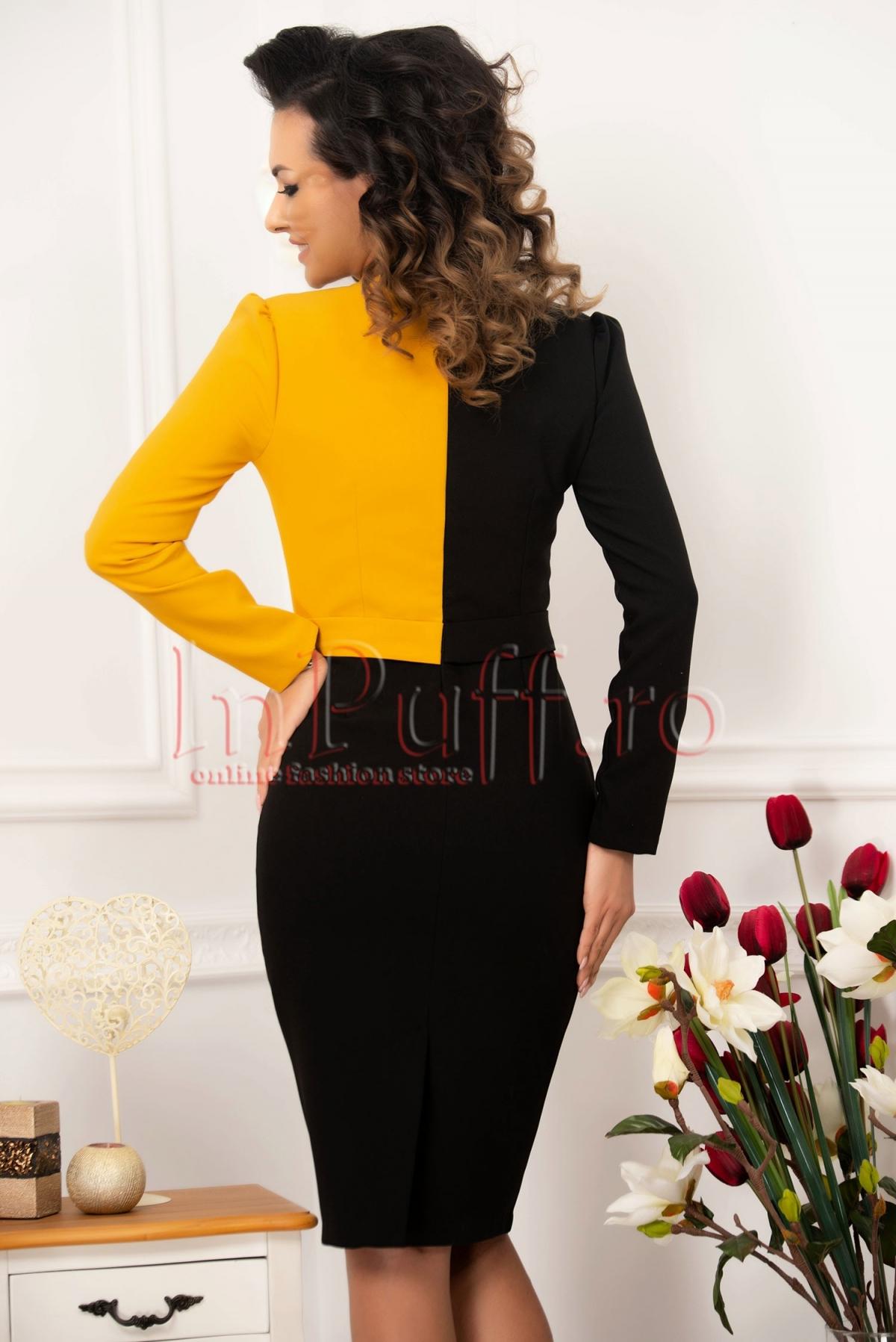 Rochie neagra conica cu decolteu petrecut galben-mustar