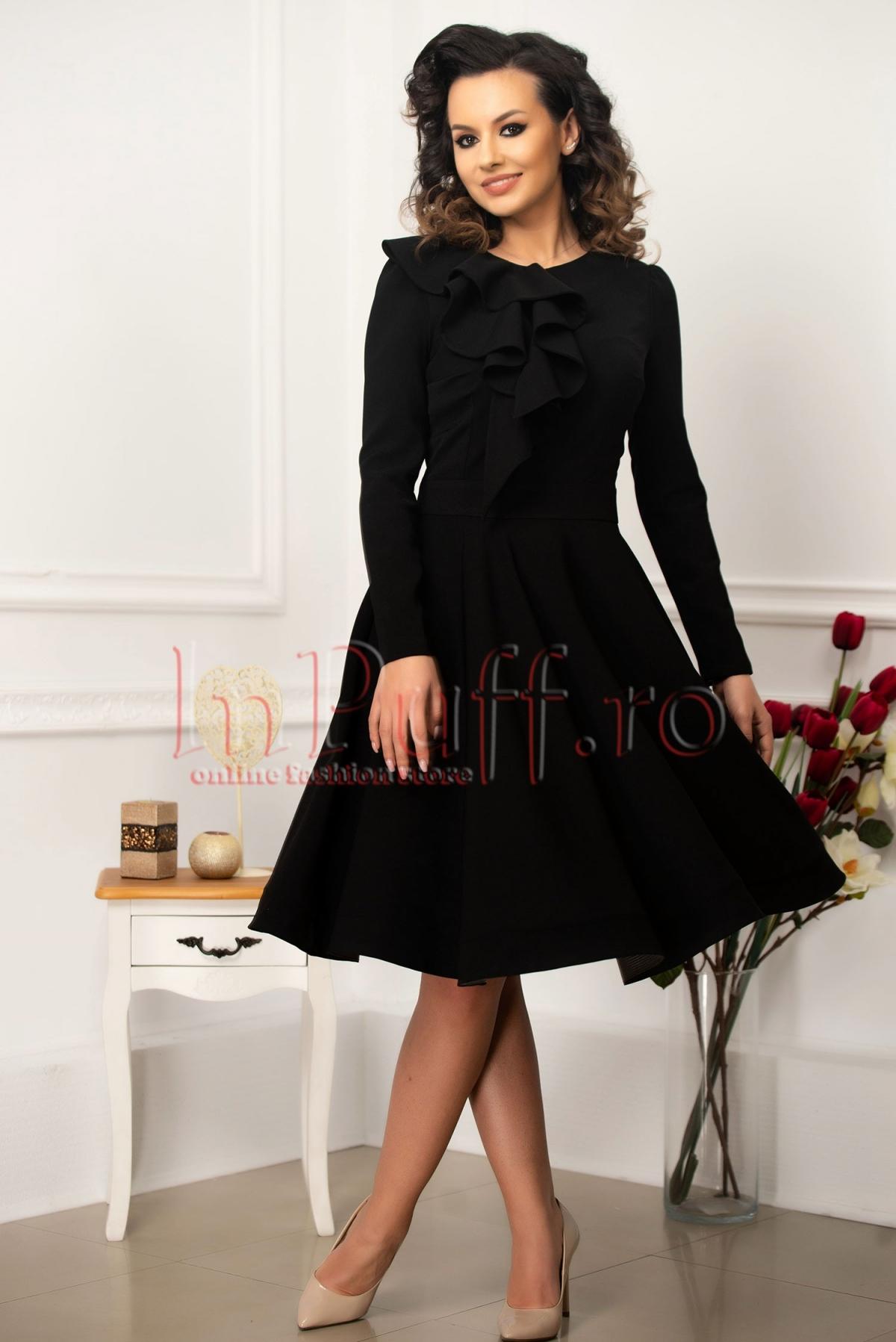 Rochie eleganta MBG din stofa neagra thumbnail