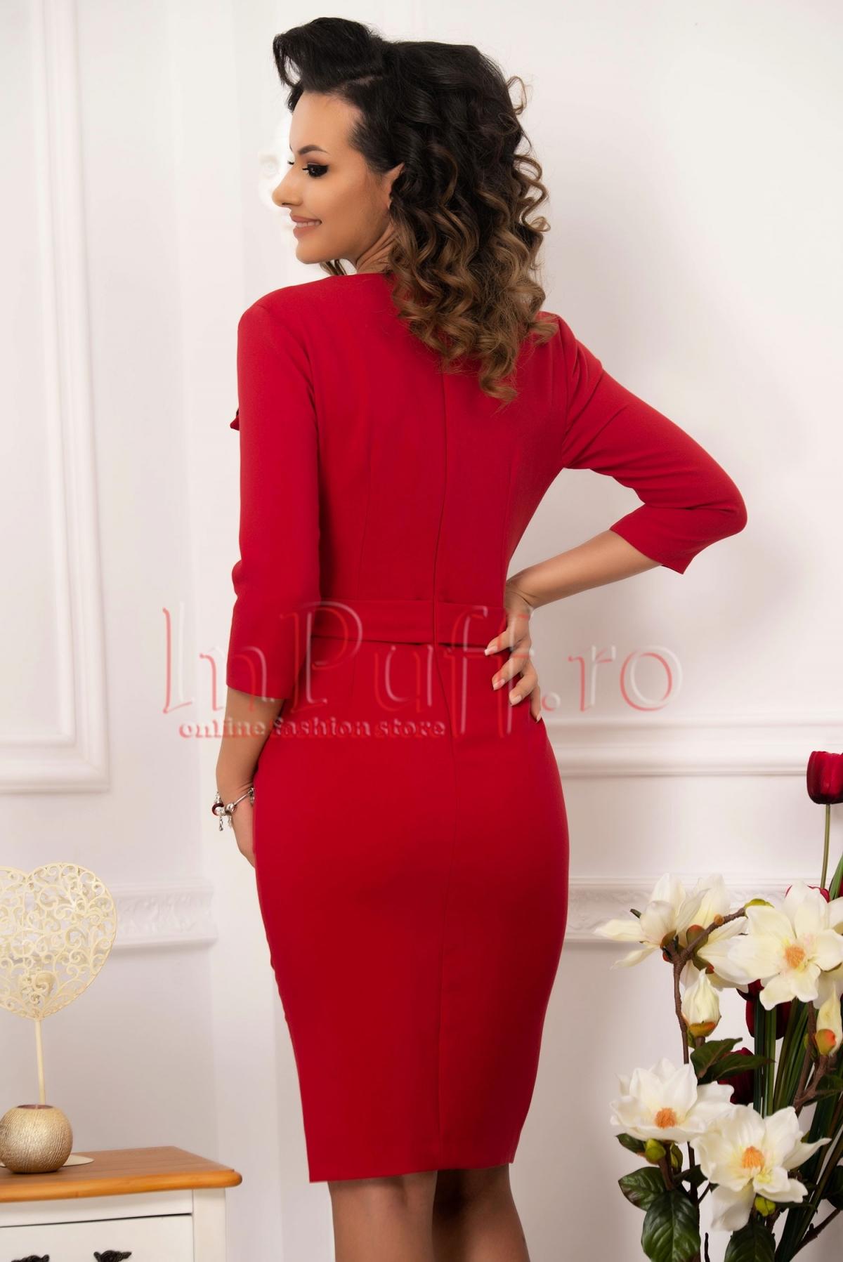 Rochie midi conica din stofa rosie