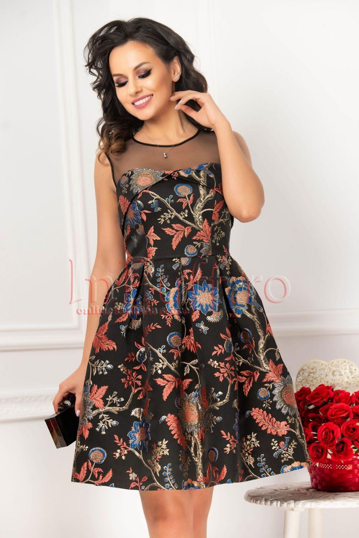 Rochie neagra din jacquard cu print floral corai-albastru