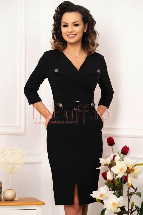 Rochie midi conica din stofa neagra