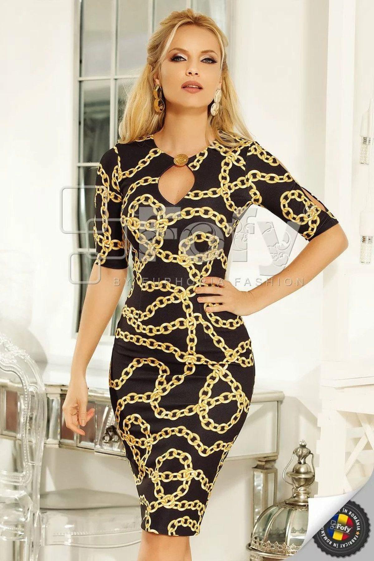 Rochie midi Fofy cu imprimeu auriu