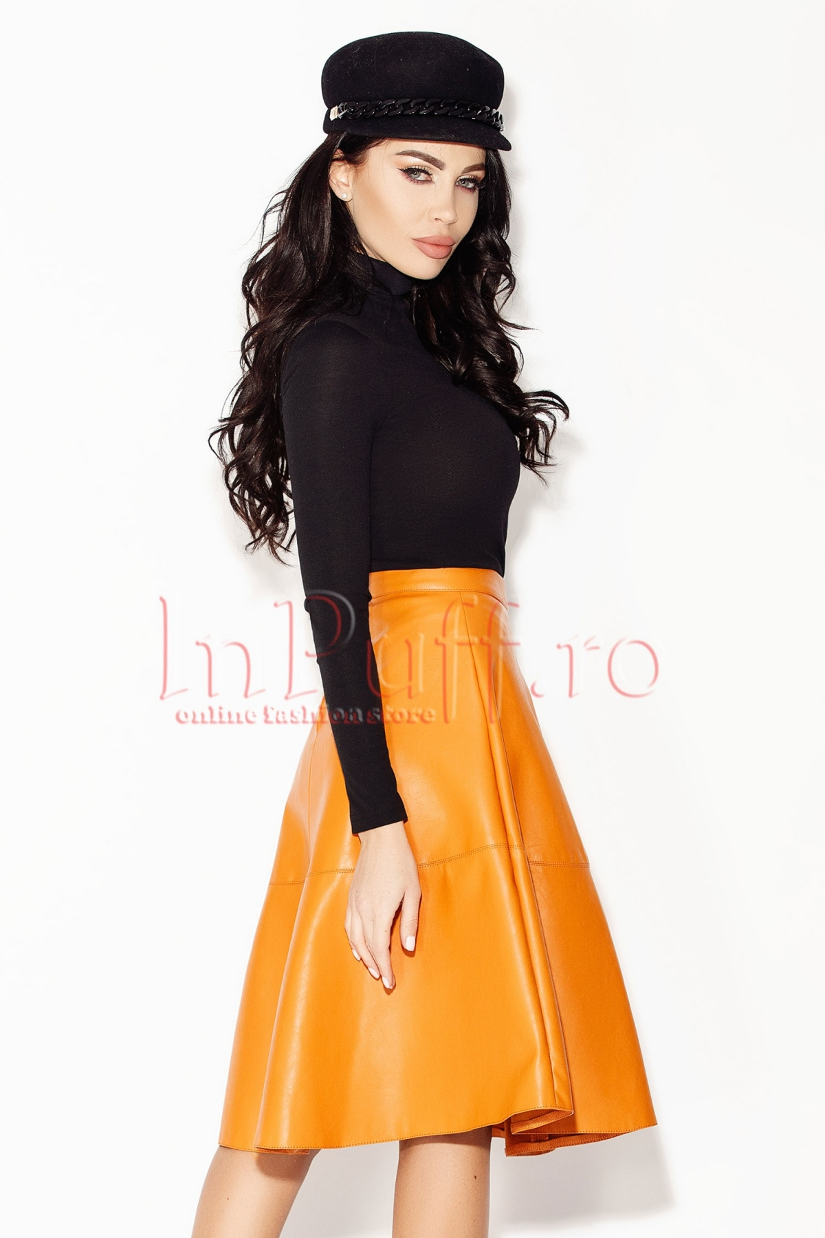 Fusta orange midi din piele ecologica Atmosphere
