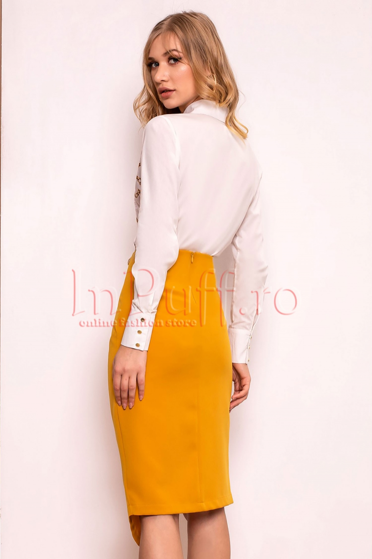 Fusta galben-mustar Pretty Girl asimetrica
