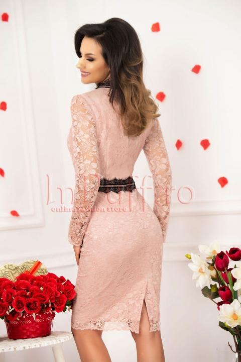 Rochie midi MGB din dantela roz