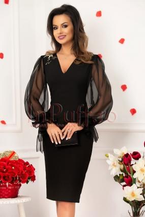 Rochie neagra midi cu maneci lungi din voal