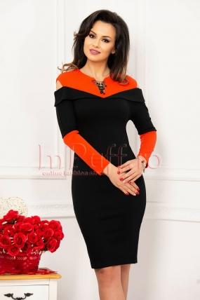 Rochie midi dama neagra cu insertii portocalii