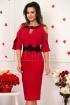 Rochie midi rosie cu insertie de broderie neagra