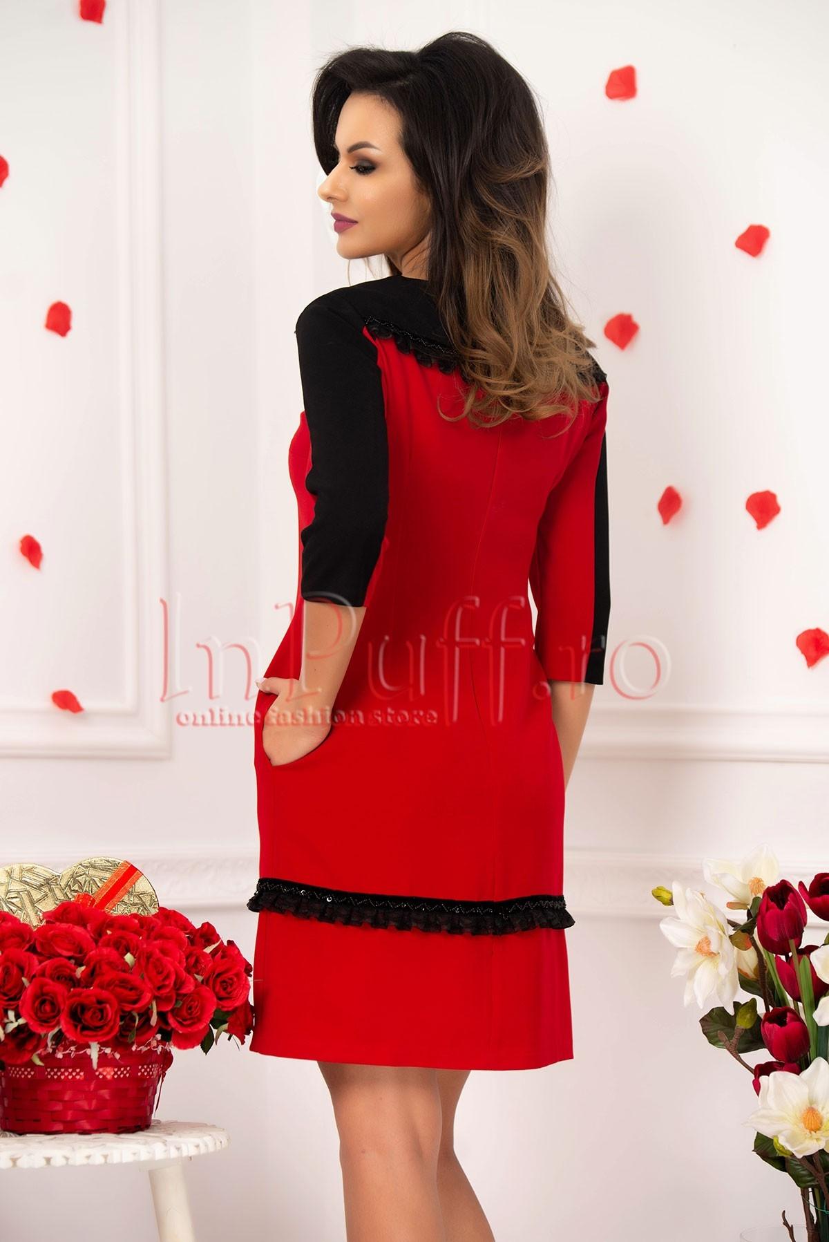 Rochie rosie MBG midi cu insertii negre