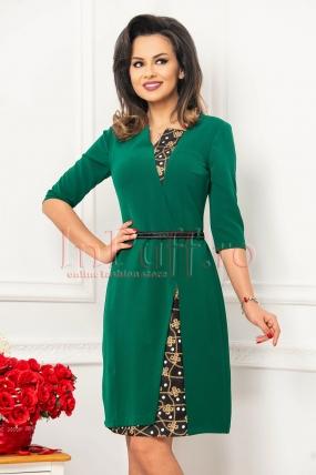 Rochie midi MBG verde cu imprimeu si cordon in talie