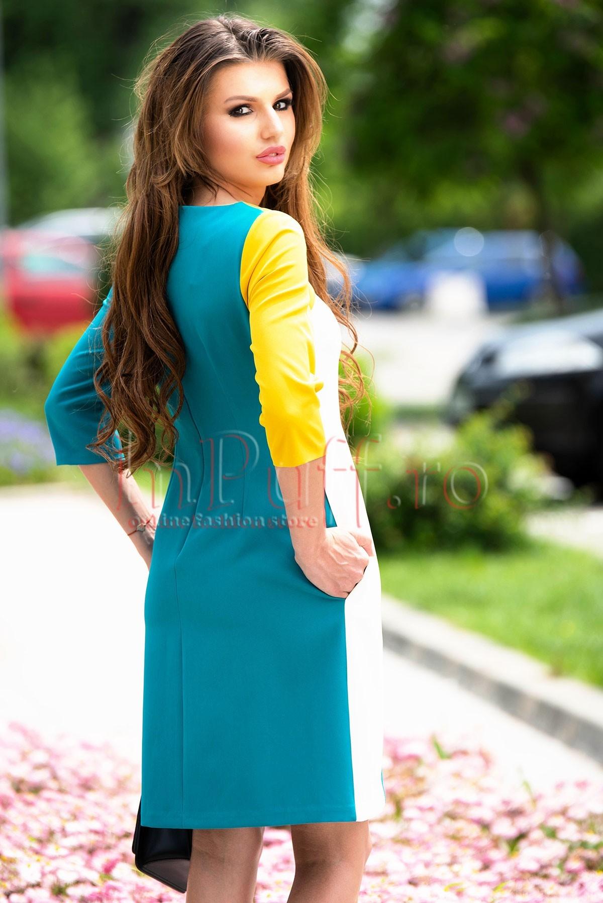 Rochie MBG turcoaz cu alb si galben