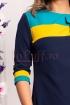 Rochie midi MBG bleumarin cu model in 2 culori din stofa