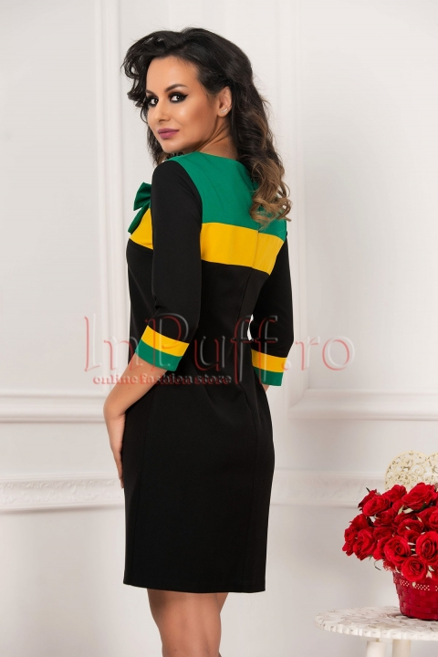 Rochie midi MBG neagra cu model in 2 culori din stofa